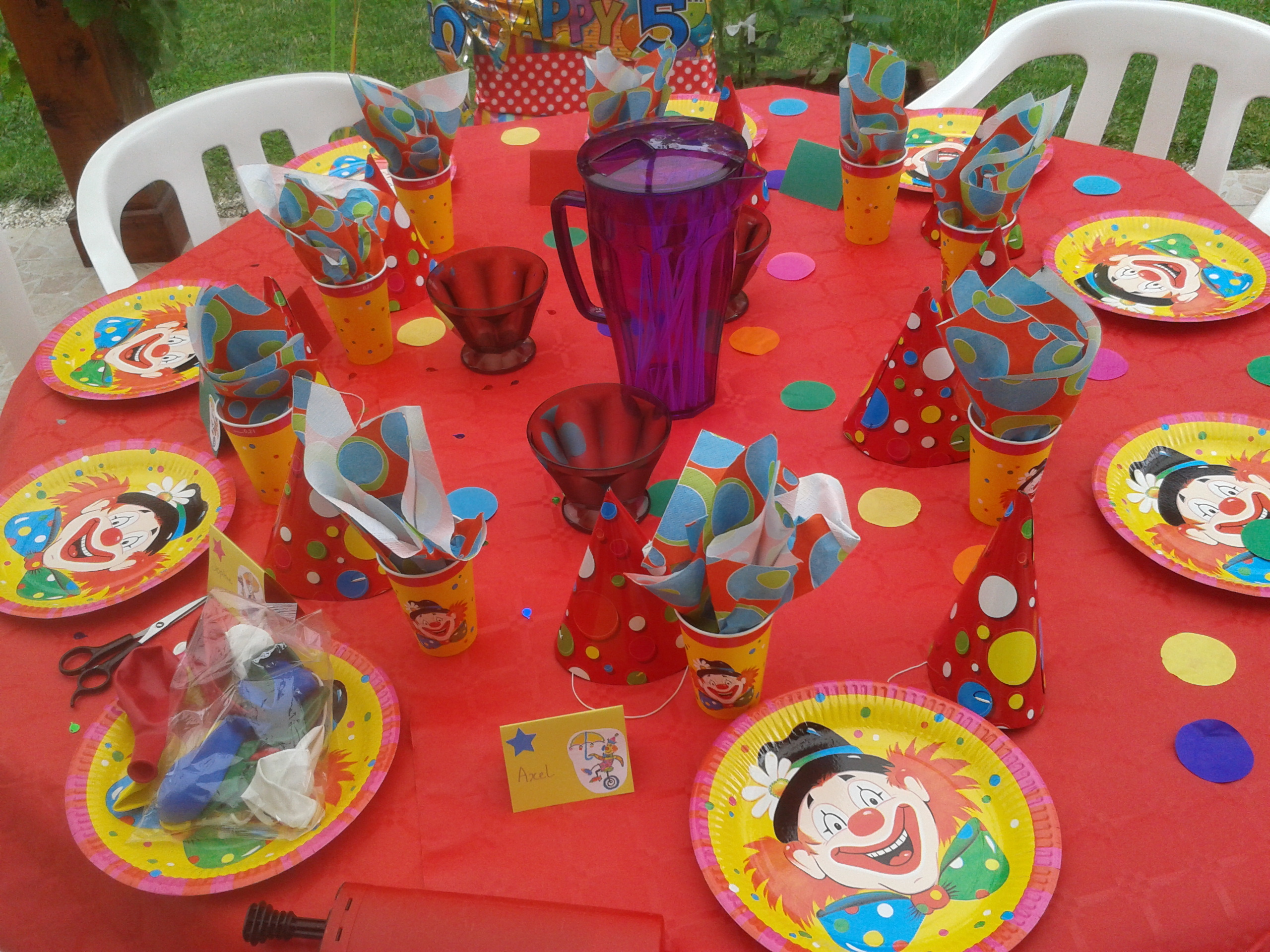 La décoration de table theme clown surprise