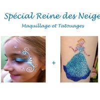 Animations spécial Reine des Neiges ! Tatouages paillettes et maquillage enfants