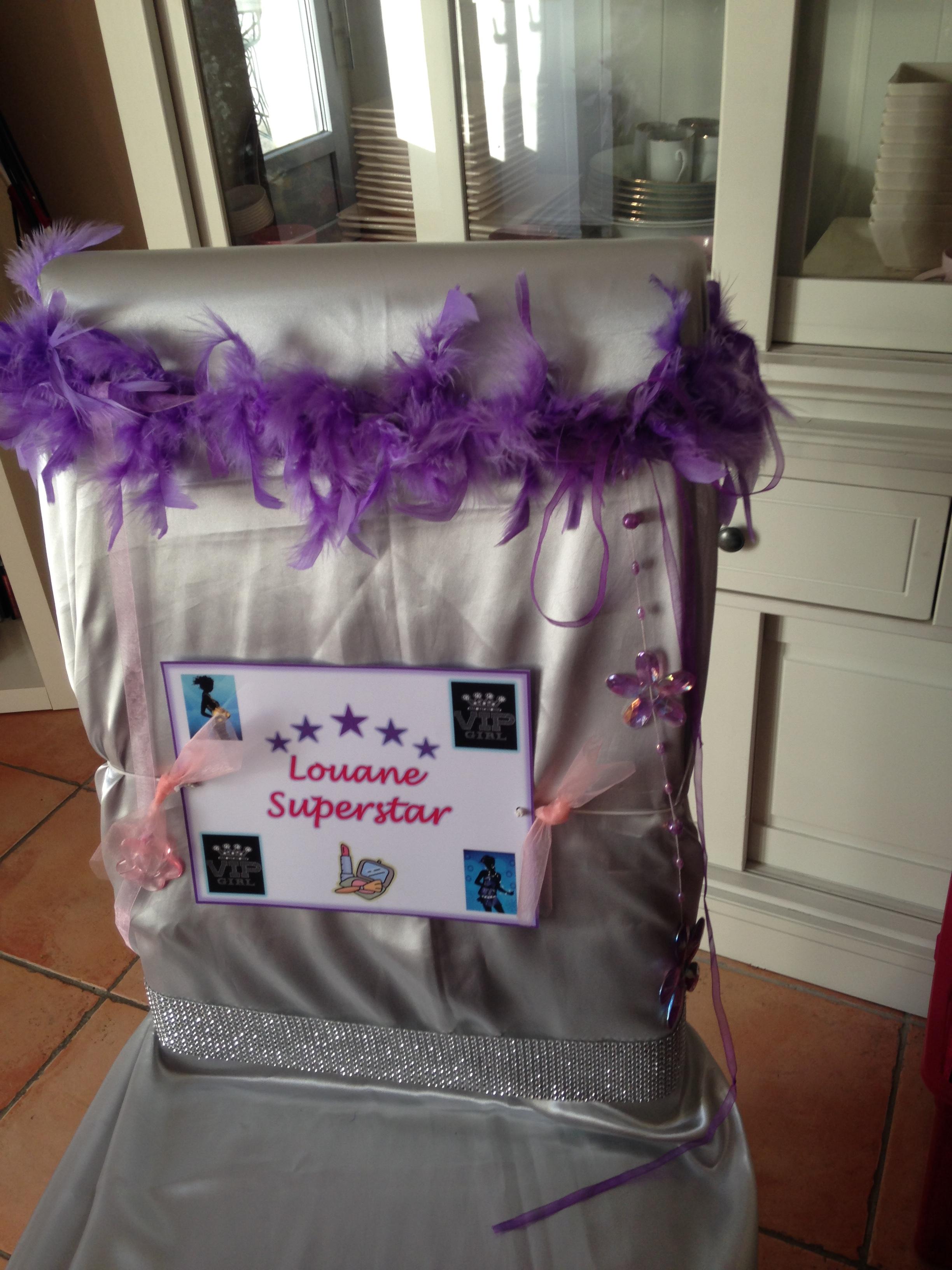 Décoration de chaise VIP GIRL Anniversaire